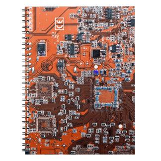 Computer Geek Circuit Board - orange Notebook
