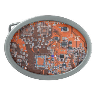 Computer Geek Circuit Board - orange Oval Belt Buckles