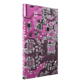 Computer Geek Circuit Board - pink purple Canvas Print