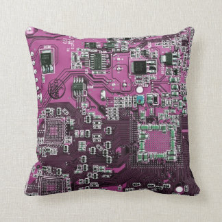 Computer Geek Circuit Board - pink purple Cushion