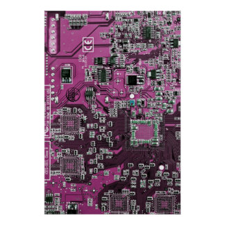 Computer Geek Circuit Board - pink purple Poster