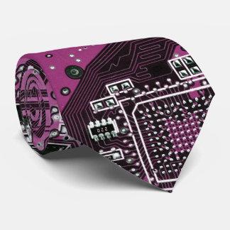 Computer Geek Circuit Board - pink purple Tie