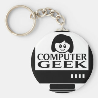 Computer Geek Girl Female Basic Round Button Key Ring