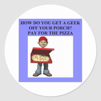 computer geek joke round sticker