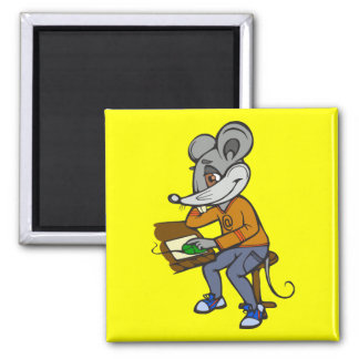 Computer Geek Mouse Square Magnet