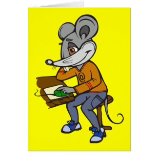 Computer Geek Mouse Note Card