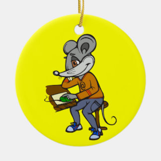 Computer Geek Mouse Round Ceramic Decoration