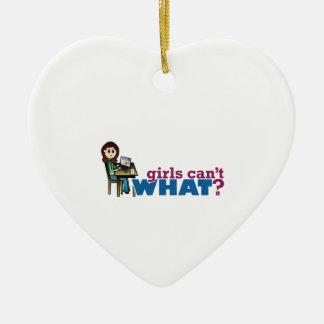 Computer Girl - Light Ceramic Heart Decoration