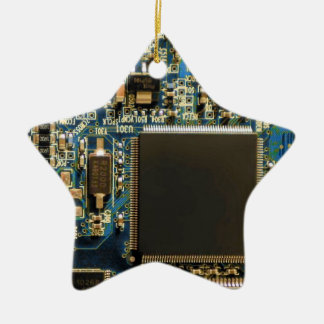 Computer Hard Drive Circuit Board blue Ceramic Star Decoration
