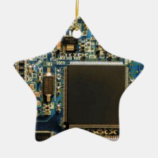 Computer Hard Drive Circuit Board blue Ceramic Star Decoration