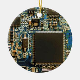 Computer Hard Drive Circuit Board blue Christmas Ornament