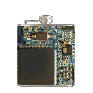 Computer Hard Drive Circuit Board blue Hip Flask