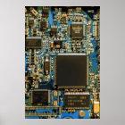 Computer Hard Drive Circuit Board blue Poster
