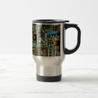Computer Hard Drive Circuit Board blue Stainless Steel Travel Mug