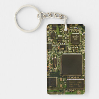 Computer Hard Drive Circuit Board Double-Sided Rectangular Acrylic Key Ring
