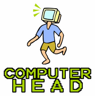 computer head standing photo sculpture