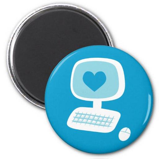 Computer Heart 6 Cm Round Magnet