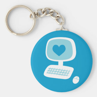 Computer Heart Basic Round Button Key Ring