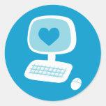 Computer Heart Classic Round Sticker