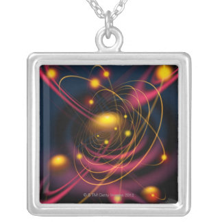 Computer illustration technique square pendant necklace