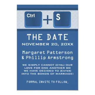 Computer Key Control Save the Date, Blue 13 Cm X 18 Cm Invitation Card