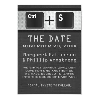 Computer Key Control Save the Date, Gray 13 Cm X 18 Cm Invitation Card