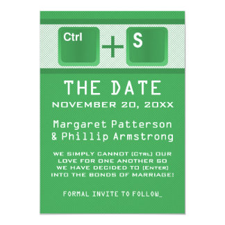 Computer Key Control Save the Date, Green 13 Cm X 18 Cm Invitation Card