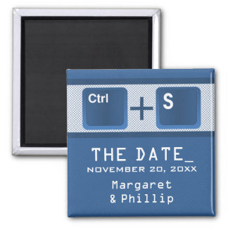 Computer Key Control Save the Date Magnet, Blue Square Magnet