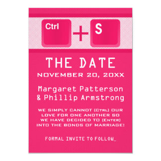 Computer Key Control Save the Date, Pink 13 Cm X 18 Cm Invitation Card