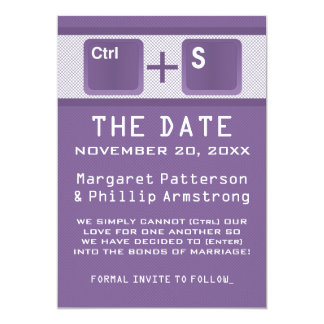 Computer Key Control Save the Date, Purple 13 Cm X 18 Cm Invitation Card