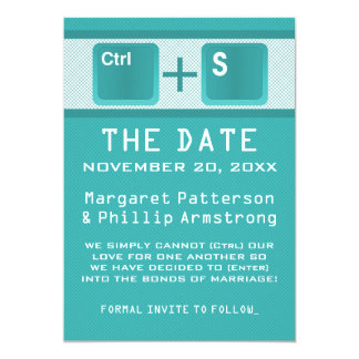 Computer Key Control Save the Date, Teal 13 Cm X 18 Cm Invitation Card