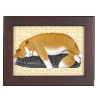 Computer Keyboard Loving Cat Keepsake Box