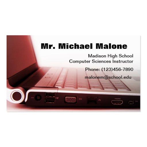 Premium computer business card templates page7 computer laptop keyboard technician teacher info business card templates accmission Gallery