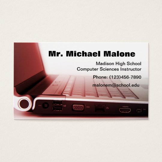 Computer Laptop Keyboard Technician Teacher Info Business Card