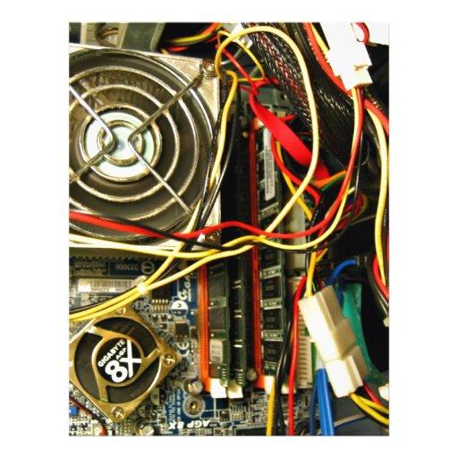 Computer mainboard electronics closeup flyers