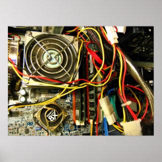 Computer mainboard electronics closeup print