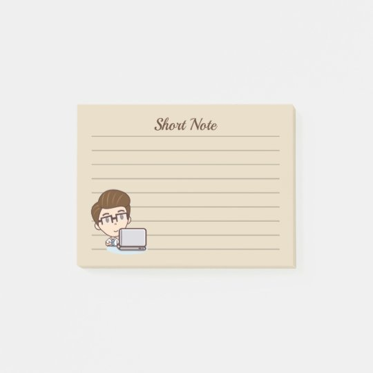 Computer man post-it notes