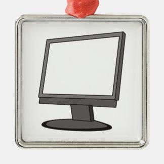 Computer Monitor Silver-Colored Square Decoration