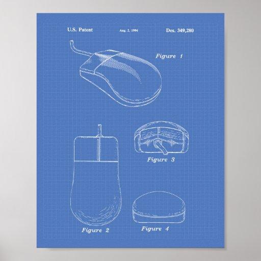 Computer Mouse 1994 Patent Art Blueprint Poster