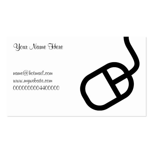 Computer Mouse, Your Name Here, Pack Of Standard Business Cards