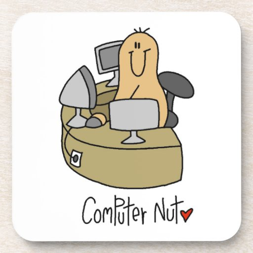 Computer Nut T-shirts and Gifts Beverage Coasters