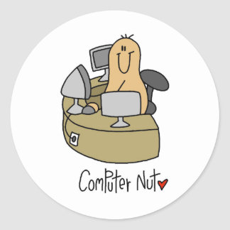 Computer Nut T-shirts and Gifts Round Sticker