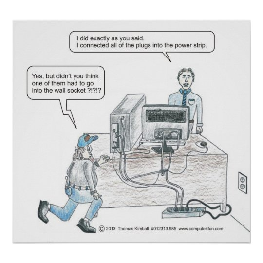 Computer power cord issues cartoon poster