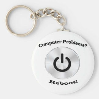 Computer Problems Black Letters Basic Round Button Key Ring