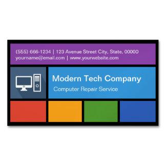 Computer Repair Retailer - Colorful Tiles Creative Magnetic Business Cards