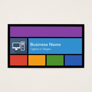 Computer Retailer Repair - Colorful Tiles Creative Business Card