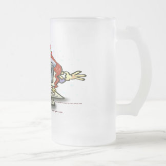 Computer Santa Frosted Glass Mug