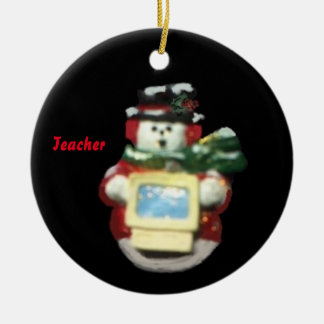 COMPUTER SNOWMAN COLLECTOR TEACHER XMAS ORNAMENT