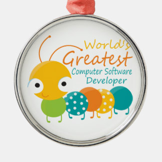 Computer Software Developer Round Metal Christmas Ornament