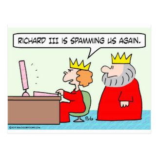 computer spamming richard iii queen king post cards